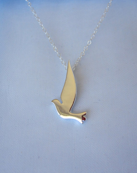 Dove bird sterling silver pendant with chain necklace aloadofball Images