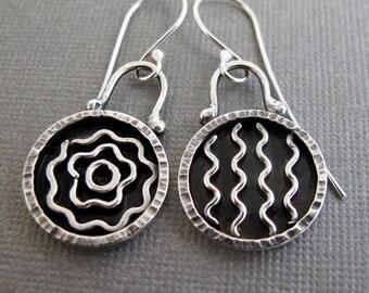 Silver Ripples Earrings - Sterling Silver Dangles - Asymmetrical Earring Pair