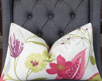 Plum Floral Pillow Cover, Decorative Pillow, Throw Pillow, Fuchsia, Chartreuse, Foliage Pillow, Home Decor, Home Furnishing