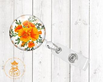 Orange Poppy Retractable ID Badge Holder