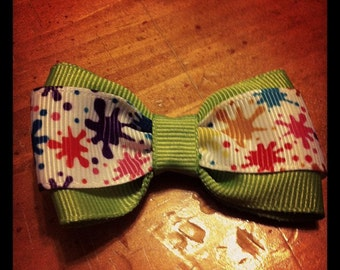 Paint Splatter Hair Bow - 2 inches