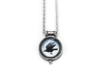 As The Crow Flies Miniature Cameo Pendant,  Sterling Silver Necklace with Fine Art Image Transfer and Resin, For Travellers