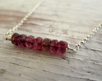 October Birthstone Necklace, Pink Tourmaline Bar Necklace, Layering Necklace, October birthday, Sterling Silver