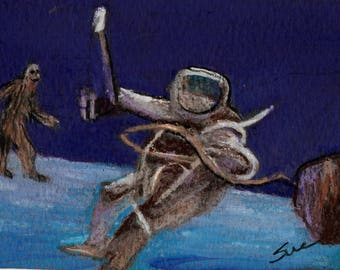 original art  aceo drawing space man planet bigfoot sighting