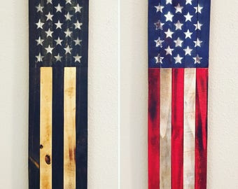 Rustic Wooden American Flag Banners