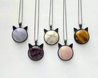 Cat Necklace Stone Necklace Black Chain Necklace Black Cat Jewelry Blue Lace Agate Necklace Rose Quartz Necklace Stone Black Cat Jewelry