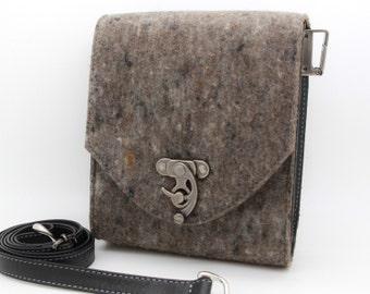 Dark grey purse, small felt crossbody bag  - the Minnie