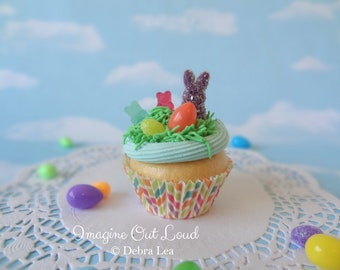 Fake Cupcake Handmade Easter Spring Faux Gummy Candy Eggs Rabbit Home Decor