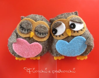 Owls lovers bookmark bookmark, bookmark Valentine felt felt, owls, OWL kawaii, fabric bookmarks