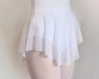 SAB skirt- Ballet Skirt Dancewear -Sheer Stretch MESH Classic White - Dance skirt- audition- Adult ballet- Summer intensive