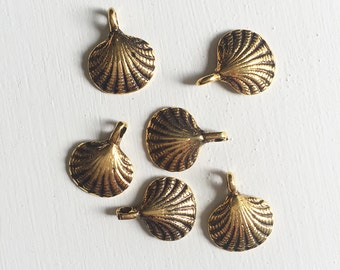 15mm Gold Seashell Charms Set of 7
