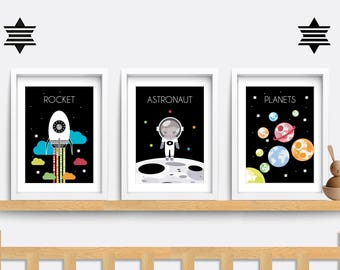 Set of 3 Baby Nursery prints. Baby nursery decor. Nursery wall art. Space themed nursery. Baby nursery print. Baby boy gift. Baby girl gift.