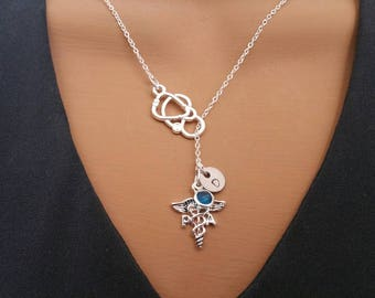 PA Physician Assistant Gift Handstamped Personalized Crystal Birthstone Initial Lariat Style Necklace