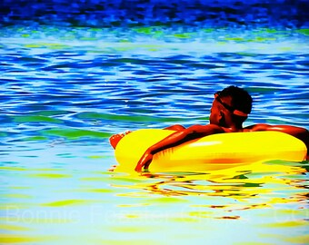 Beach Little Boy Floating in Yellow Tube Ocean Clearwater Florida Gulf Seaside Limited Edition Wall Art Giclee Print