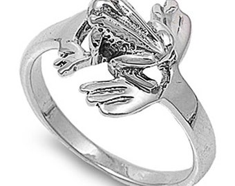 Women Sterling Silver Frog Ring 13mm / Free Gift Box(SNRP140064)