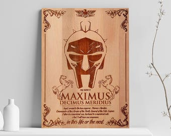 Maximus Wooden Engraved Poster