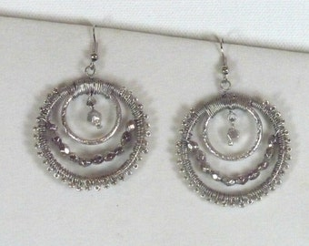 Silver Wire Wrapped Earrings, Free Shipping