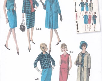 FREE US SHIP Simplicity 8246 Vintage Retro 1960s 60s Jackie Dress Coat Ensemble Reproduction Sewing Pattern Uncut Size 6-22 Bust 30-44 Plus
