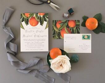 KIRSTEN SUITE // Oranges Wedding Invitation, Botanical , Rustic Orchard, Citrus Invitation, Florida, California, Grove, Orange Blossom