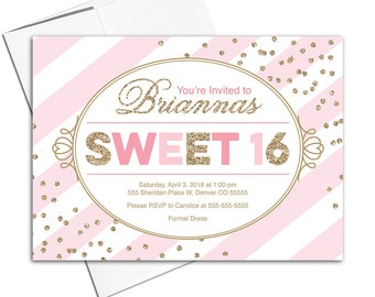 Printable sweet 16 invitation pink and gold, sweet sixteen invitation printed, pink stripes, confetti, unique modern stylish - WLP00307