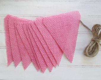 DIY Pink Burlap Banner kit, burlap banner kit, blank banner kit, burlap pennant, gift kits, craft kit, holiday gift, christmas gift, DIY