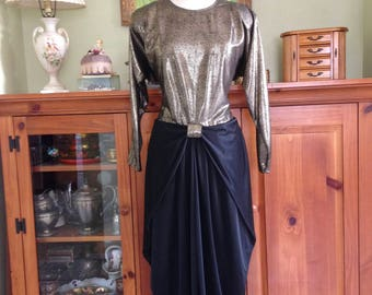 80s Vintage Party dress Draped Metallic Gold Snake Print Black Retro 30's Night Moves New York Draped Evening Gown