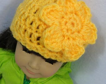 18 Inch Doll Hat, Yellow Crochet Beanie for American Girl, Winter Cap for Doll, Gift for Little Girl, Stocking Stuffer, Birthday Party Favor