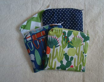 """Made to Order: Set of 2 Snack Bags, 6"""" X 6"""" with zipper, you choose print."""