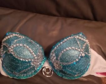 Winter/frozen rave bra and tutu blue glitter
