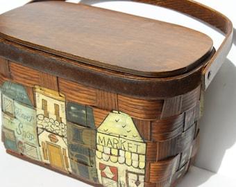 Vintage Woven Basket Purse Hand Tole Painted Market Flower Shop Antiques Books Boutique Curio