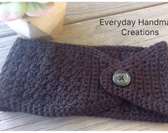 Handmade Crocheted Ear Warmer with Button - Teen to Adult