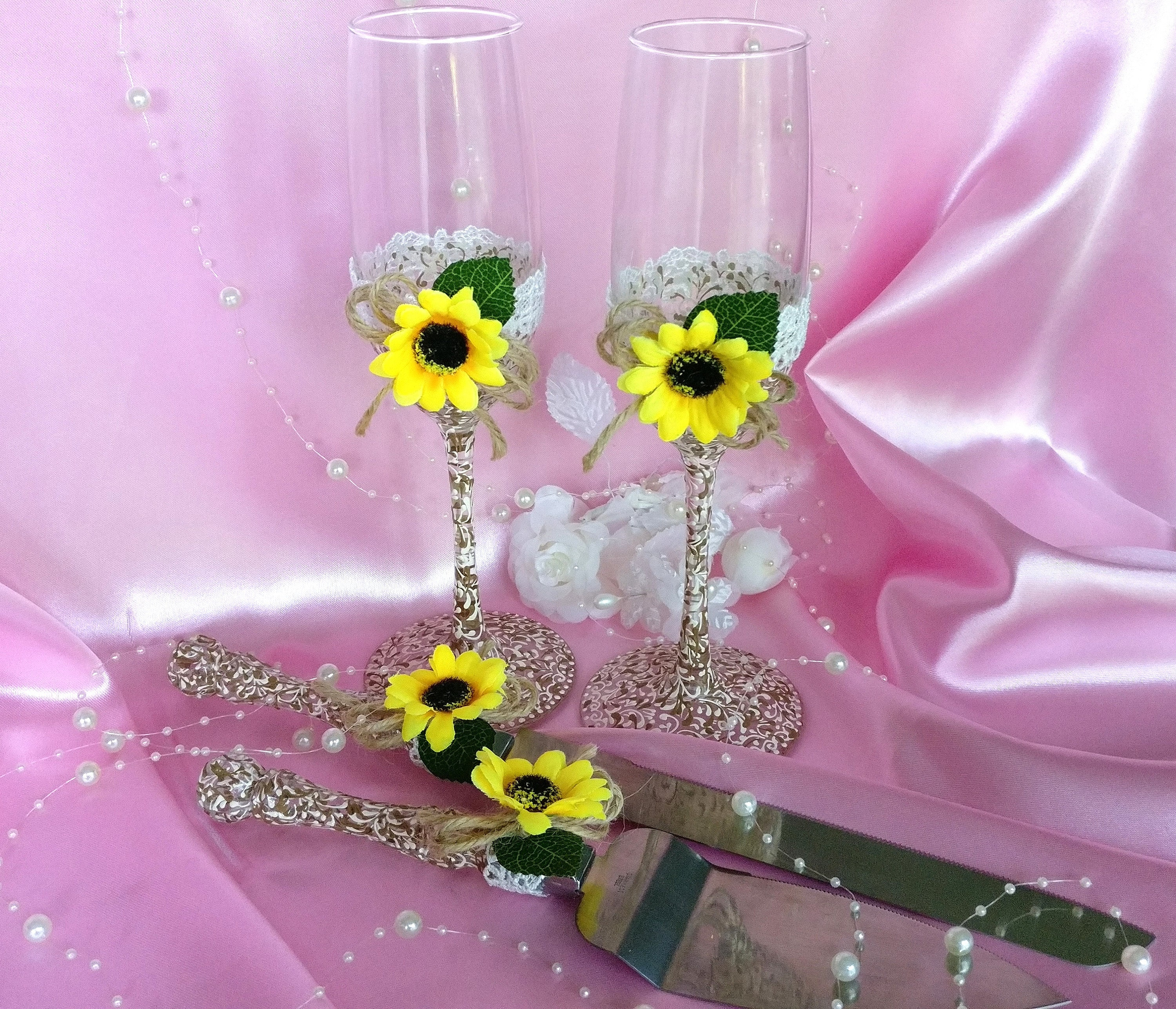 Bride and Groom Flutes Sunflower Wedding Glasses and Cake
