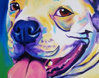 Bulldog, Pet Portrait, DawgArt, Dog Art, Pet Portrait Artist, Colorful Pet Portrait, Bulldog Art, American Bulldog, Art Prints