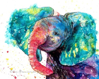 Baby Elephant art print - elephant nursery art, colorful elephant art, baby animal art, zoo animal art, elephant lover, elephant spirit