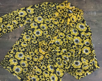 1970s Black & Yellow Floral Blouse