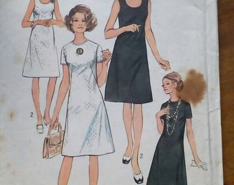 """1970 Dress - 37"""" Bust - Simplicity 9175 - Vintage Sewing Pattern"""