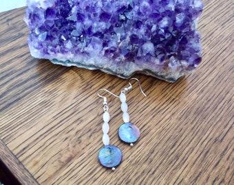 Genuine Mother of Pearl Earrings with Pearl | Dangle Earrings | MOP a7 Pearl Earrings