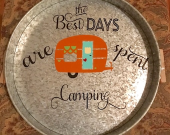 Galvanized metal Camper serving tray