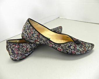 Vintage 1950s Genie Lounge Shoes , 50s Pointed Toe Black Embroidered Slippers US 7 - EU 37 1/2