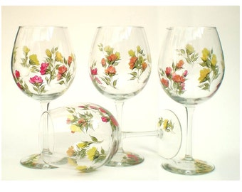 4 Rose Glasses Hand Painted Glassware Set, Choice of Stemware - Colorful Roses Red Yellow Roses Wedding Host Gift Ideas Floral Wine Glasses