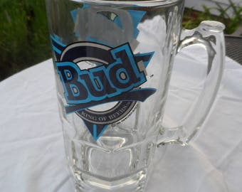 CLEARANCE Gift for Beer  Fans -  Huge 1994 Glass Stein For Budweiser Beer  1435