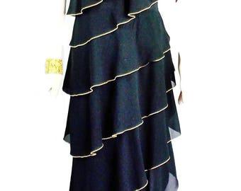 Vintage LILLIE RUBIN ONE Shoulder Tiered Evening Dress Ful Maxi Length Size Med