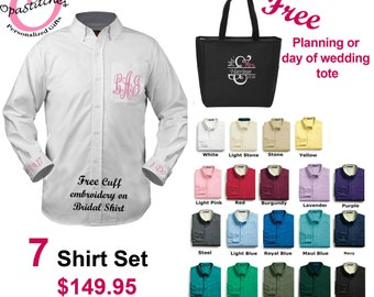 Free wedding tote with purchase of a 7 set Bridesmaid Button Down Shirt MONOGRAMMED on pocket, free cuff embroidery for bride shirt
