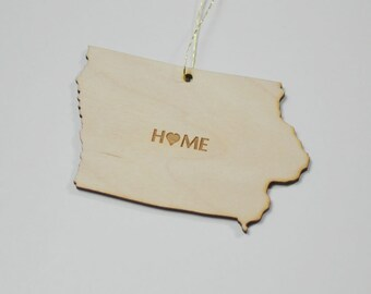 Natural Wood HOME Iowa State Ornament