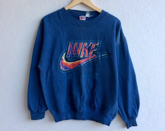 Vintage NIKE AIR SWOOSH Big Logo Sweatshirt Blue Colour Medium Size