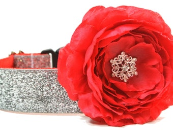 """Silver Glitter Dog Collar 5/8"""", 3/4"""", 1"""" or 1.5"""" Christmas Dog Collar Flower Not Included"""