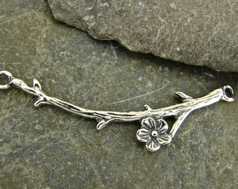 Cherry Branch - Curved Sterling Silver Branch Link Or Necklace Centerpiece - One Piece - N2