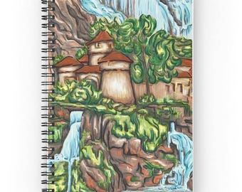 Spiral notebook for journal sketch zentangle - Castle waterfall landscape painting