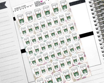 "DECORATIVE - ""A Cup of Coffee To Go"" Individual Decorative Stickers - Decorative Planner Stickers"