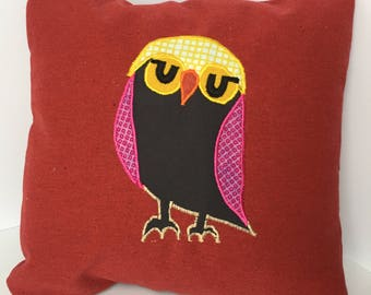 """Red Pillow with Owl 12x12"""""""